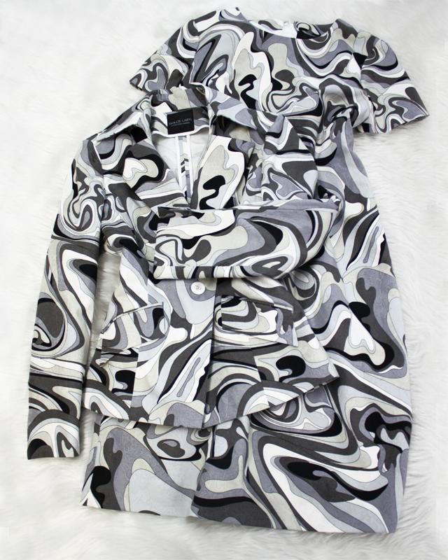 白・黒・グレーのマーブル柄ワンピーススーツ★<br />Black, white and gray marble dress and jacket