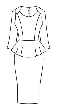 ウエストペプラム八分袖ワンピース/Waist Peplum Eighth sleeve Dress(OP-15)