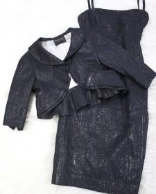 春にも♪ブラックラメワンピース&フリルボレロ/<br />Black lam dress & frill bolero