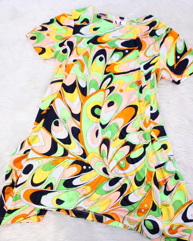 オレンジとグリーンがカラフルでリゾート感あふれるプッチカットソー♪/<br />An orange and green are colorful. The Putsch cut-and-sew full of resort feelings