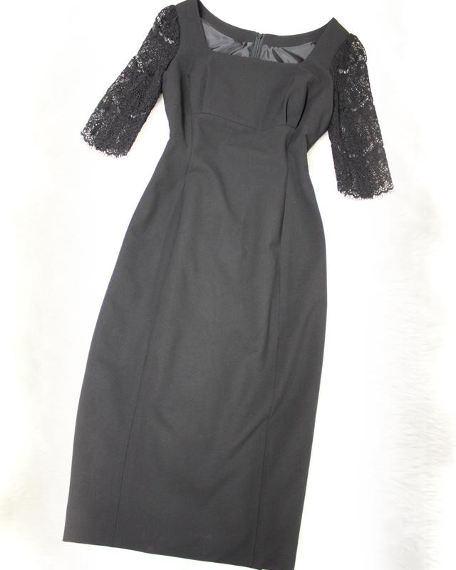 素敵なレース素材使いを使ったお袖のブラックワンピース♪/<br />Black dress of the sleeve made the wonderful lace fabric.