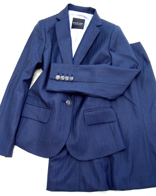 定番も素敵!紺細ストライプスカートスーツ/<br />The constant seller is wonderful, too! Dark blue thin stripe skirt suit