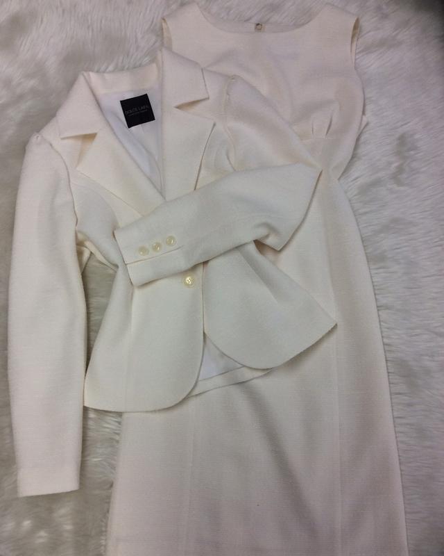 白ラメワンピーススーツで大人可愛く/<br />Adult cute with white lame one piece suit