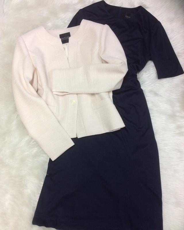 ベージュジャケット&紺ワンピースでスマートに♪/<br />Smart with beige jacket & navy dress