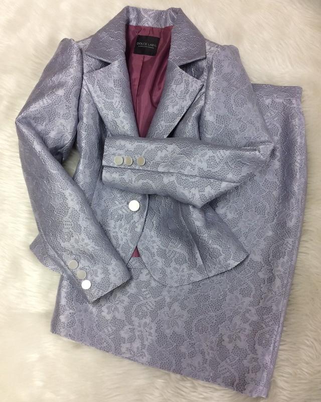 グレージャガードスカートスーツ/<br />Gray jacquard skirt suit