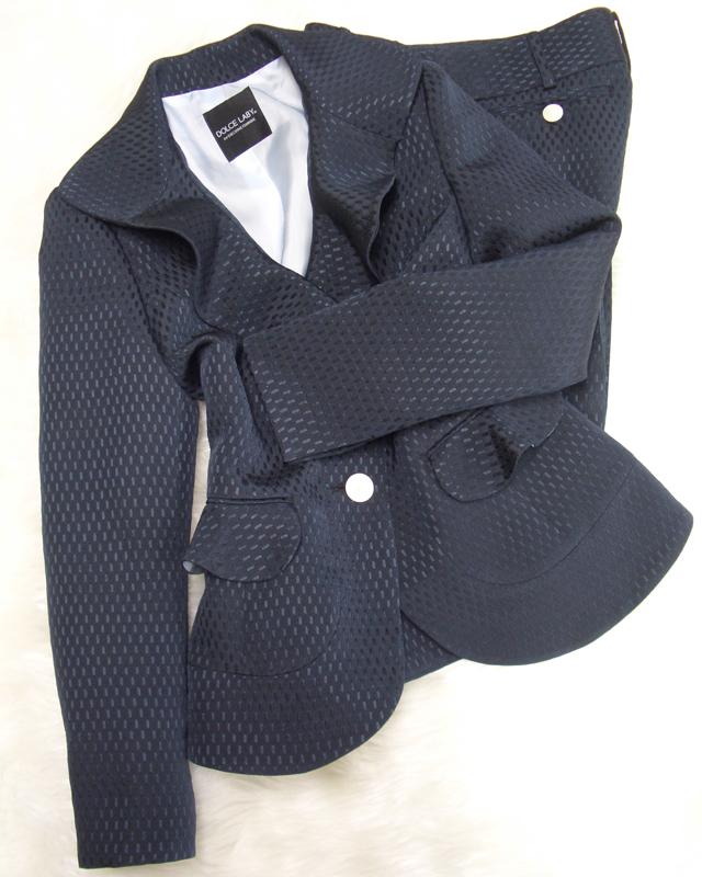 つぶつぶ紺パンツスーツ/<br />navy blue pants suit