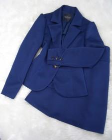 紺柄スカートスーツ/<br />Navy blue pattern skirt suit