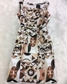 茶コットンプッチワンピース/<br>Brown cotton pucci one-piece dress