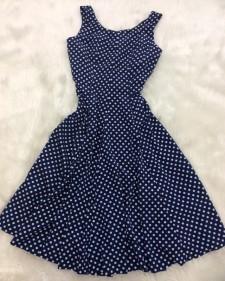 紺ドットサーキュラーワンピース/<br>Navy blue dot circular dress