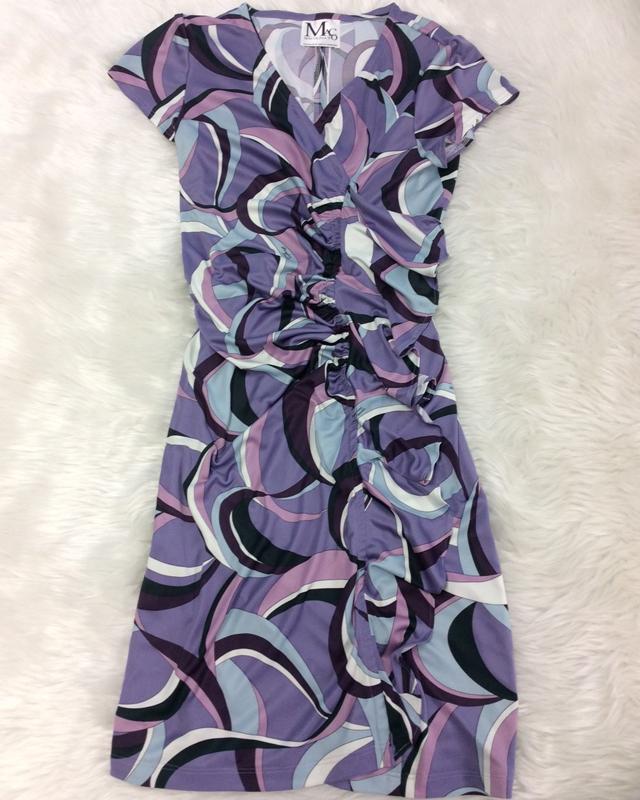 センターフリル紫ワンピース/<br />Center frill purple one-piece dress