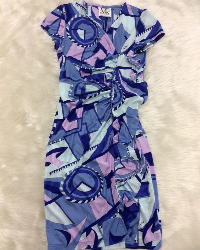 センターフリル青ワンピース/<br />Center frill blue one-piece dress