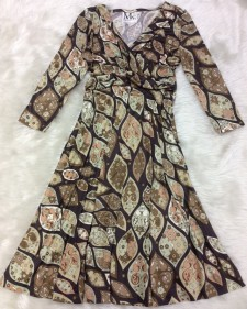 茶プッチ七分袖ドールワンピース/<br />Brown Pucci 3/4 Sleeve Doll Dress