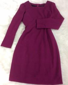 濃ピンク長袖ワンピース/<br />Dark pink long sleeve dress