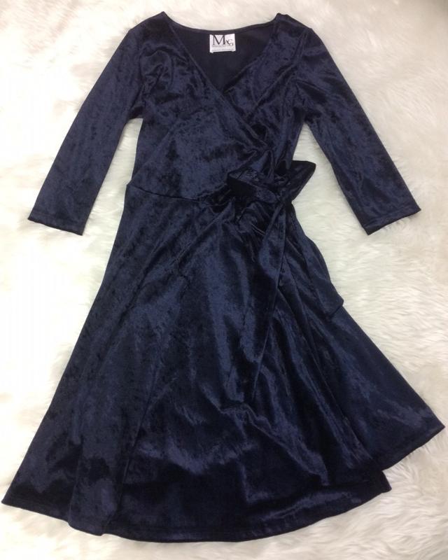 紺ベロアカシュクールワンピース/<br />Navy blue velour cashcourt  one-piece dress
