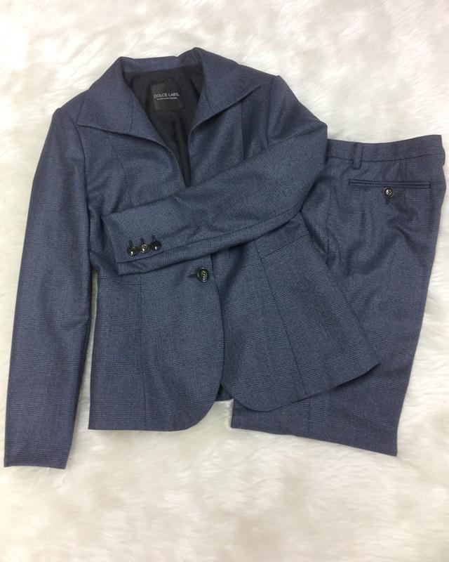 紺グレンチェックパンツスーツ/<br />Navy blue glen check pants suit