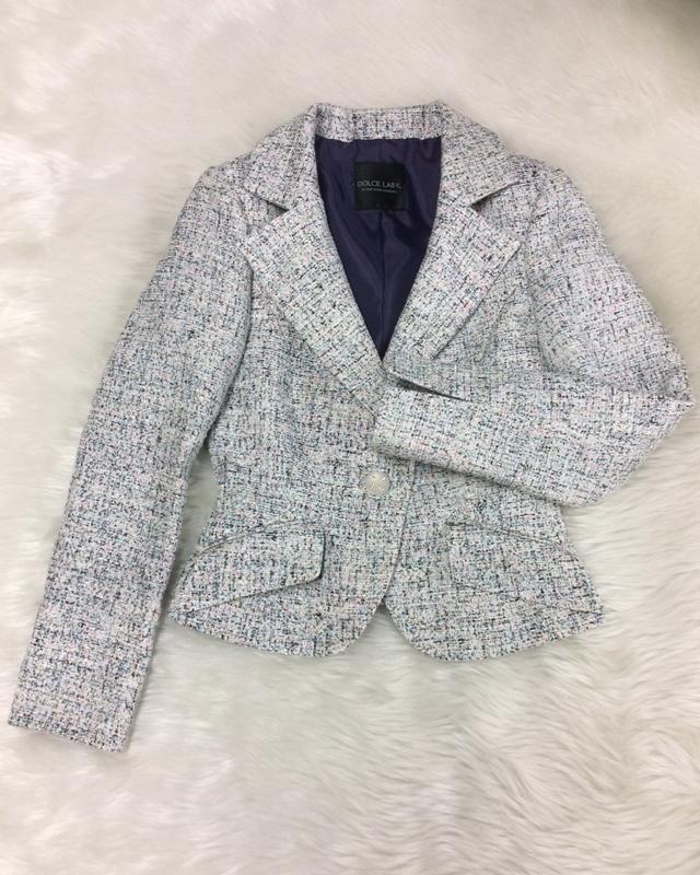 ブルー系ツイードジャケット/<br />Blue tweed jacket