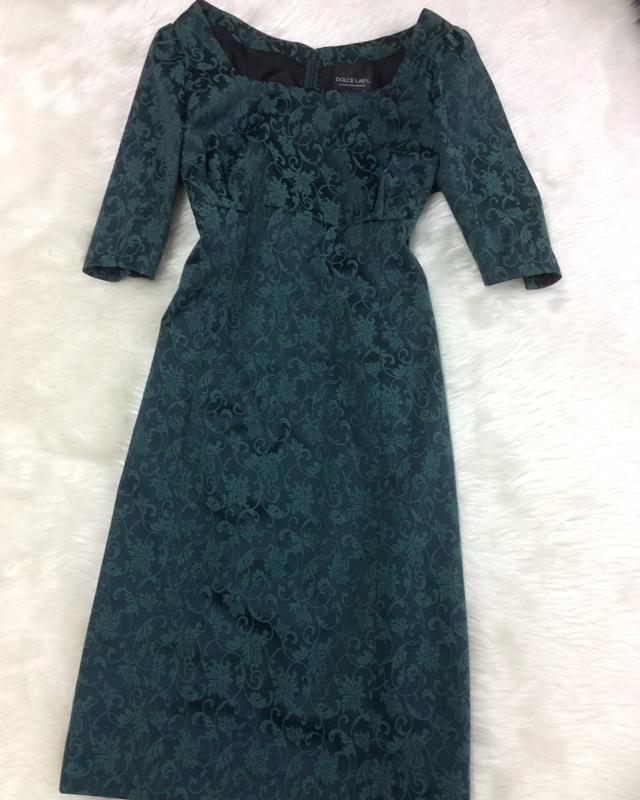 グリーン柄ワンピース/<br />Green pattern dress