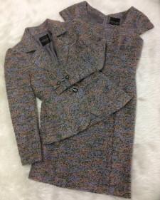 グレー×ピンクワンピーススーツ/<br />Gray x pink one-piece suit