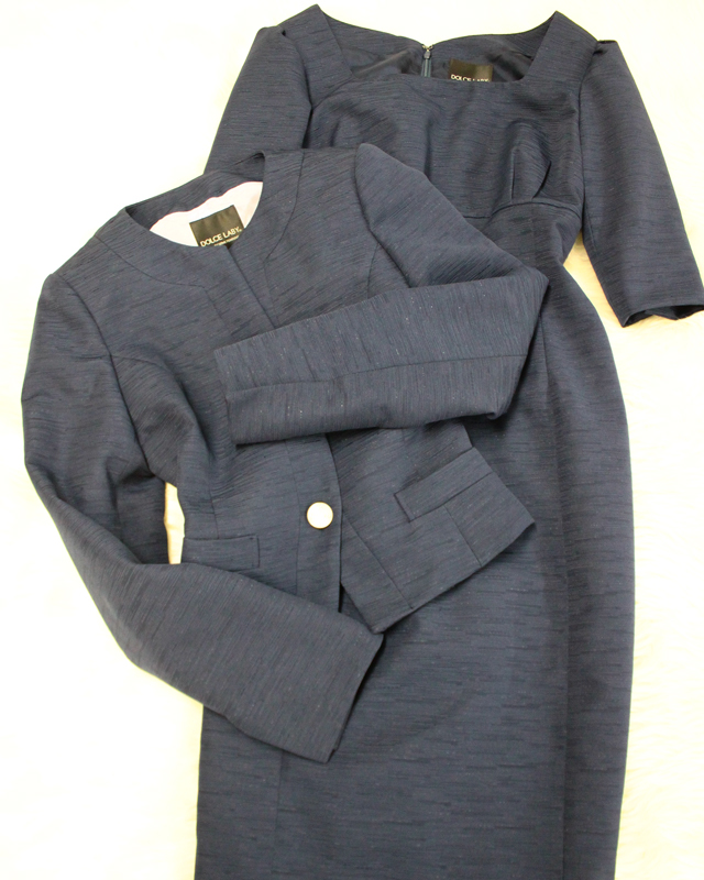 紺ラメワンピーススーツ/<br />Navy blue lame one-piece suit