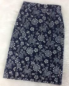 紺着物柄スカート/<br />Navy blue kimono skirt