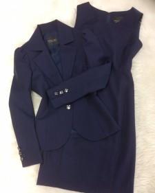 紺赤ストライプワンピーススーツ/<br />Navy red striped one-piece suit