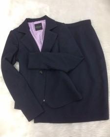 紺ラメツイードスカートスーツ/<br />Navy blue lame tweed skirt suit