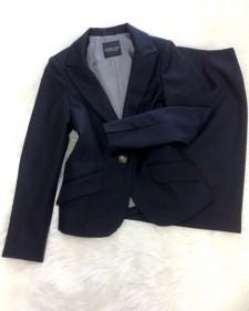 紺ダイヤ柄スカートスーツ/<br />Navy blue diamond skirt suit