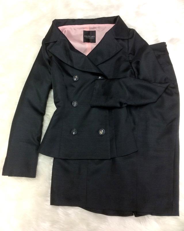シャンタン素材スカートスーツ/<br />Shantung skirt suit