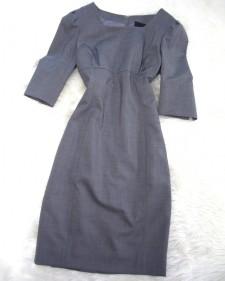 グレーストレッチ七分袖ワンピース/<br />Gray stretch three-quarter sleeve one-piece dress