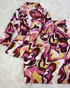 ピンクマーブルカーディガンスーツ/<br />Pink marble cardigan suit