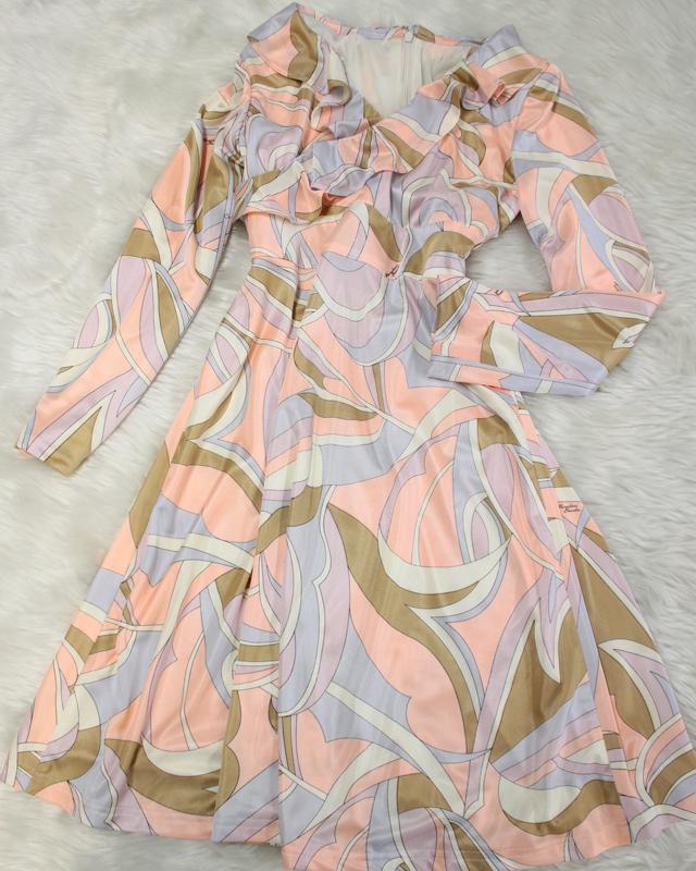 ベージュプッチフリルワンピース/<br />Beige pucci ruffle one piece dress