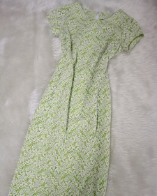 黄緑×白レースワンピース/Yellow-green x white lace  one piece dress
