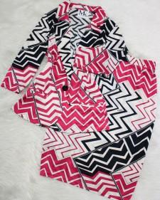 ピンク×白プッチカーディガンスーツ/<br />Pink x White Pucci Cardigan Suit
