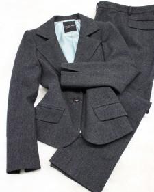 杢チャコールパンツスーツ/<br />Heather charcoal pants suit