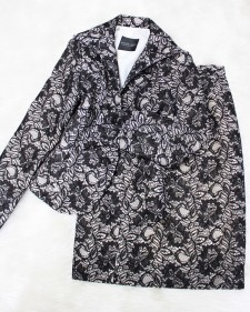 ベージュ黒レーススカートスーツ/<br />Beige black lace skirt suit