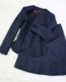 紺千鳥スカートスーツ/<br />Navy blue zigzag skirt suit