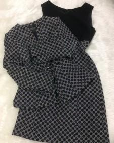 白黒花ワンピーススーツ/<br />Black and white flower one piece suit