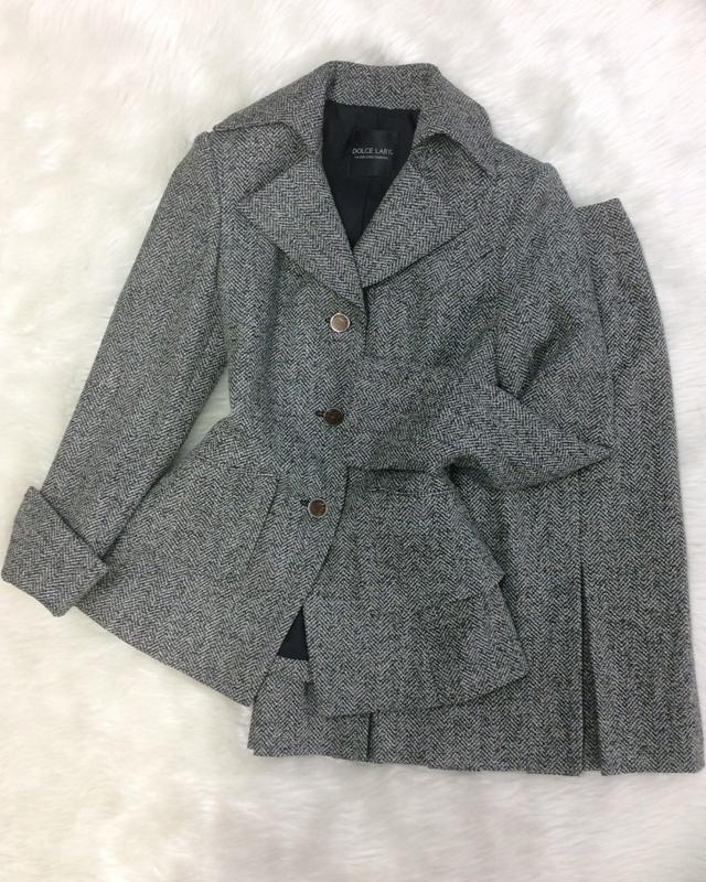 白黒杉綾スカートスーツ/<br /> Black and white cedar skirt suit