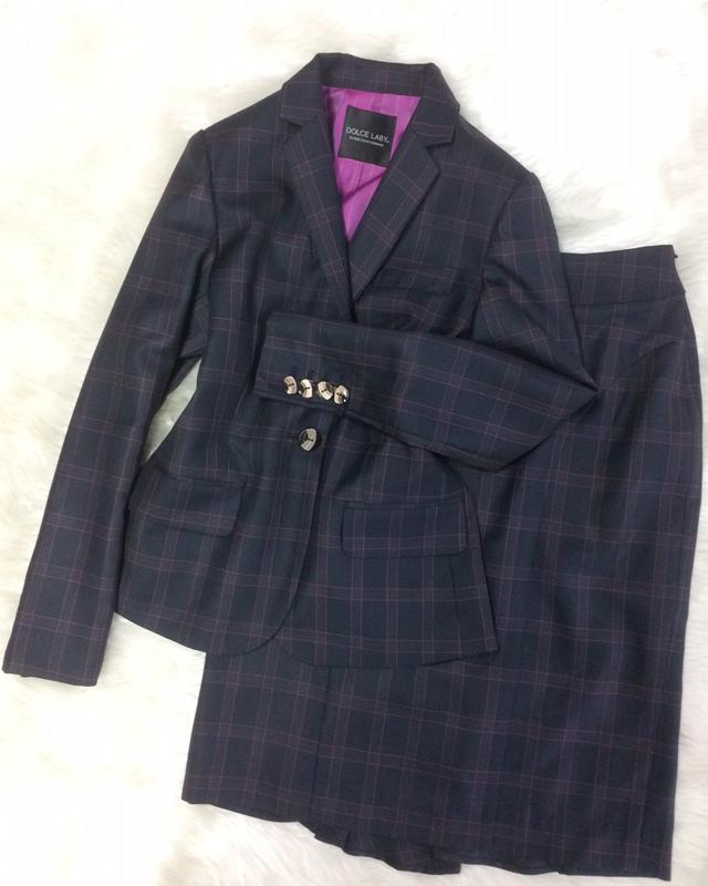 ボルドーチェックスカートスーツ/<br /> Bordeaux check skirt suit