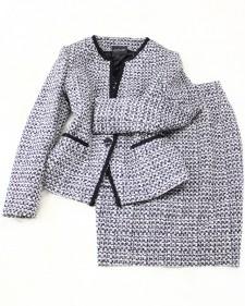 白×黒ツイードスカートスーツ/<br />White x black tweed skirt suit