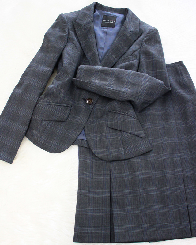 グレンチェックスカートスーツ/<br />Glen check skirt suit