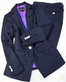 紺ラメパンツスーツ/<br /> Navy blue lame pants suit